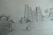 Mes dessins au crayon et fusain