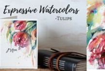 Video tutorials by Sanketi / watercoloring stamped images -videos