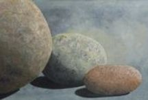 Sticks & Stones / A series of Still-life deawings and paintings of rocks, stones, carins and weathered sticks.