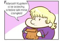"""Marceli i Bryk / things related to """"Marceli and Bryk"""" comic strips.  There's ENGLISH TRANSLATION UNDER each strip on the original comic page!! (the one it's pinned from)"""