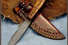 Leather Knife Sheaths, Blade Covers and Scabbards / Looking at leather knife sheaths, for shape, design, ingenuity - for bushcraft, outdoor sports, re-enactments etc. Covering blades for tools, shears, scissors, axes. To get started making your own sheath visit our website www.theidentitystore.co.uk