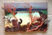 Balıklı çalışmalarım driftwood. / Handmade driftwood fish