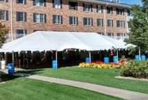 Event & Wedding tents: Frame / A rugged aluminum frame makes up nice durable tents. These tend to be more expensive then rope and pole tents, but can be weighed down vs. needing to be staked.