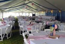 "Event & Wedding tents: Hybrid ""Jumbotrac"" structures / This is a step up in price from frame tents."