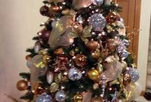 Christmas Trees & Skirts I Like / I am not a fan of trees that are so decorated that you can't see the tree underneath or trees that are too perfect. I like these trees, the color combinations of ornaments, or the ideas, they are beautiful.