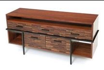 Urban Rustic Furniture Collection / This line of furniture show cases rustic & modern. Blurring the line between the two this furniture combines the warmth of aged wood with the clean lines of modern design using smooth ebony and stainless steel, available brushed or polished. Wood options include a distressed or rough and smooth version. All this comes together to make an unique, warm line of furniture to fit in just about any decor ranging from rustic to modern.