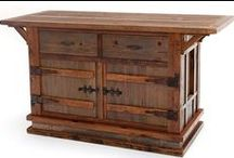 Reclaimed Wood Furniture / Antique reclaimed barn timbers ranging from 100 to 150 years old are meticulously crafted into beautiful barnwood furniture. The barnwood's aged patina, coupled with the refined lines, give our barnwood furniture an elegant rustic charm. It is crafted to be passed down for many generations. Any piece of barnwood furniture can been made a custom size and have hand hammered copper or birch bark accents added. The Heritage Collection features weathered barnwood & unique wooden hinges.