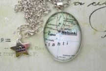 Helmipaikka.fi Tea Design recycled maps / Recycled old maps into jewelry