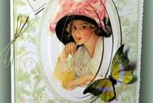 ladies, dresses, hats and apron cards / pretty cards with ladies,dresses,hats and aprons