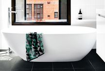 Bathrooms: Black, White + Grey / mostly monochromatic bathrooms that prove you don't need lots of colour to be exciting