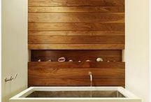 Bathrooms: timber / Natural timber to add warmth and texture to bathroom spaces
