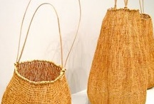 BASKET ART. WOVEN ITEMS / Continuation of my board of baskets.   This pin board is exclusively for BASKETS, which I've collected for  years.  Plus, materials used in basket making..straw, wicker, wire,  leaves, natural fibers  ct...  PLUS, WEAVING  and WOVEN  objects / by Gay Edelson