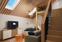Divani per mansarde e sottotetti a Lissone / Realizzazione divani su misura per arredamento mansarde e sottotetti con travi a vista