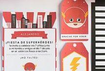 Ideas fiesta Flash / Imprimible kit de invitaciones superhéroe, invitación, etiquetas y sobre - Flash