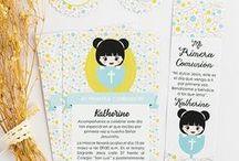 Ideas para primera comunión / Invitaciones para primera comunión diseños florales