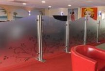 Glass screens / Glass screens.  Any size and shape available. Waved, Flat or Arched tops.  With or without branding.