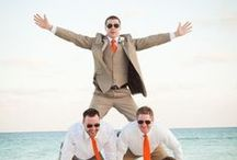 Beach Wedding Men's Wear / Most men wear white button down shirts and khaki pants which photographs well on the beach.  Suits look formal for the beach and they're hot.  He needs to be comfortable too.