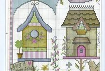 Cross Stitch-Házak, madárházak / Keresztszemes, házak, városok,madárházak