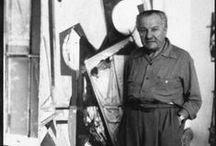 Hans Hofmann (1880-1966) / Hans Hofmann (1880-1966) est un peintre allemand. Il vit à Paris pendant dix ans où il se nourrit de l'art moderne européen. Il est l'assistant de R. Delaunay. Il développe le Push /pousser ou Pull/tirer. Les couleurs associées sont vues comme se repoussant ou s'attirant. Le plan coloré fonctionne alors comme une porte battante dans le plan du tableau. Lee Krasner, Rothko, Joan Mitchell sont ses élèves. Il influence voire initie le mouvement expressionniste abstrait.