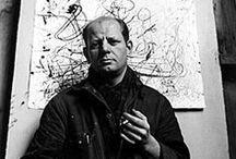 Jackson Pollock (1912-1956) / Jackson Pollock est un peintre américain de l'expressionnisme abstrait. Il a eu une influence déterminante sur le cours de l'art contemporain. Pollock fut le premier de la troisième vague d'artistes abstraits américains à être enfin reconnu et a ouvrir le monde des collectionneurs à l'expressionisme abstrait.   En 1945, Pollock épousa l'artiste peintre Lee Krasner qui a eu une influence décisive sur sa carrière et sur la valorisation de son œuvre.
