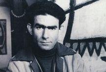 J. Michel Atlan (1913-1960) / Jean-Michel Atlan, né à Constantine (Algérie), est un peintre français. En 1941, il commence à peindre, puis il est arrêté en 1942, à la fois pour son engagement dans la résistance et parce qu'il est juif. Mis en prison, il échappe aux camps d'extermination en simulant la folie. En 1946, Atlan rencontre Asger Jorn, puis rejoint le mouvement CoBrA3 et se rapproche de l'abstraction.
