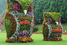 Flower Art. Bloomers Flower shop makes flowers into a work of art. / Flowers & plants turned to art. Hedges, Topiaries, animals, flowering plants, all become art by Bloomers Flower shop