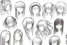 dessiner cheveux manga / Exemple de dessin de chevelure pour des personnages de manga.