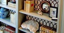 Shelf backs using wall paper- so cool! / Instantly update a boring shelf with wall paper!!