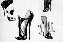 Heels & Stockings - Fetish / Garters Nylon Stockings Shoes Boots Fetish - Black & White