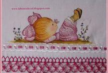 PINTURAS E AFINS / Pintura em tecido para panos de prato, fraldas, camisetas. Ideias, riscos, modelos e peças prontas