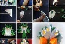 KVĚTY - kanzashi, jojíčka / ručně dělané květy