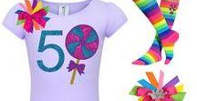 Lollipop Party / Bubblegum Divas Lollipop outfits are sweet & stylish! Rainbow Giant swirl lollipop suckers, rainbow candy tutu skirts, rainbow candy land stripe knee high lollipop socks, rainbow hair bows