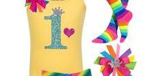 Rainbow 1st Birthday / girls 1st birthday rainbow tutu skirt, glitter 1 shirt with love heart and princess crown, rainbow socks, princess rainbow hair bow.