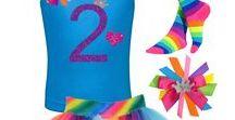 Rainbow 2nd Birthday / girls 2nd birthday rainbow tutu skirt, glitter 2 shirt with love heart and princess crown, rainbow socks, princess rainbow hair bow.