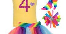 Rainbow 4th Birthday / girls 4th birthday rainbow tutu skirt, glitter 4 shirt with love heart and princess crown, rainbow socks, princess rainbow hair bow.