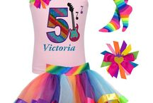 Rock n Roll / Rock Star rocker princess party Birthday outfit. Electric guitar shirt, musical notes, rainbow birthday number rainbow tutu skirt, musical theme celebration.