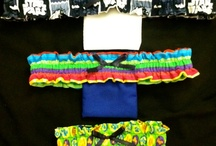Fabric Items / A collection of pocket garters and belly dance costumes.