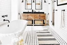 Decor - Bathroom / A lot of black, white and gray; subway tile, marble, natural wood, and sanctuary-like mood inspiration photos - with a splash of pattern or color to spice it up!