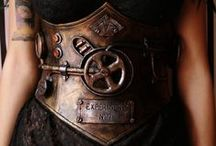 steampunk items / handmade steampunk/post apocalyptic corsets, belts, masks, bracers, chokers