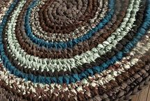 rag rugs and rag bags / Rugs made from old sheets, t shirts or materials that are stripped and made into rugs. / by marcella weston