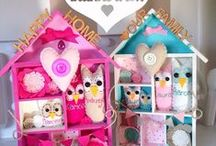 InMyNest Houses / Wooden houses, family personalised home decor. Gift idea. Owls!