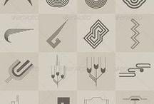 Moodboard voor logo / Verzameling van logo's, lettertypen, texturen en andere grafische uitingen ter inspiratie voor mijn website. Hiermee mag het een persoonlijke branding worden.