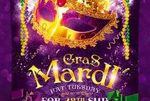 Mardi Gras Flyers and Posters / This Collection is perfect for a mainstream music event or any other night club event.