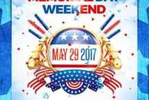 Memorial or Independence Day Party Posters and Flyers / This Collection is perfect for a mainstream music event or any other night club event.