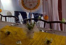 Decoración Comunión chica!!! / Decoración de comunión niña en amarillo, con globos, telas, flores y detalles personalizados!