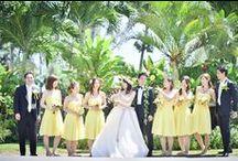 Yellow Palette / 元気いっぱいの黄色がテーマカラーのウエディングを集めました! テーブルコーディネートやアクセサリー、フラワーガールのドレス等、素敵なお写真ばかりです。  差し色にグレーやネイビーなどを入れるのもお洒落ですね!