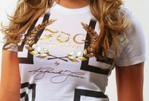 STRIPED CROSS Christian T-Shirt  / Stylishly cross your heart! This short sleeve crew neckline Christian T-Shirt features, large graphic print and gold foil F.O.G. logo at front. Signature logo design at right sleeve. #FOG Christian T-Shirts # Christian T-Shirts #Christian T-Shirts for Women #Stylish Christian T-Shirts #FOGcollection / by F.O.G. FAVOR OF GOD