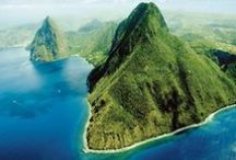 The Pitons in St Lucia / Our two, iconic volcanic spires in Saint Lucia - Gros Piton and Petit Piton located south of Soufriere and situated in a UNESCO World Heritage Site.