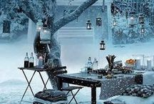 White Christmas } Dreaming of... / winter wonderlands, scandinavian and nordic styling, christmas packaging, tables & decor, interior & exterior bringing outside in and inside out. Shopping resources for white Christmas accessories.