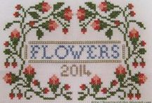 Cross stitch flowers, garden